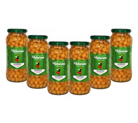 Spanish cooked chickpeas: Garbanzos 570g x6