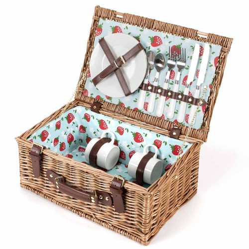 Picnic Hamper: 2 Person 'Strawberry' Pattern Fitted
