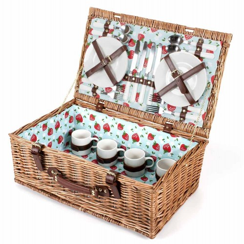Picnic Hamper: 4 Person 'Strawberry' Pattern Fitted