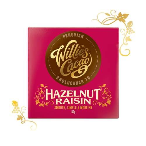 Willie's Peruvian Hazelnut & Raisin chocolate 50g