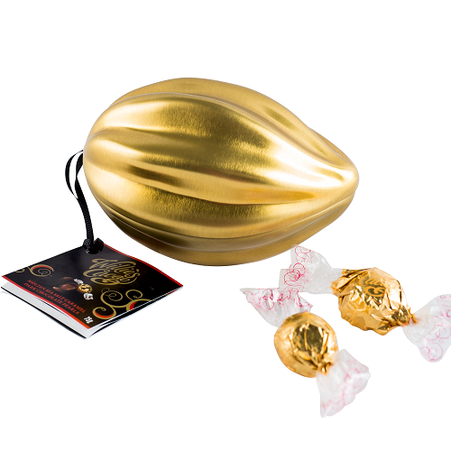 Willie's Cacao - The Original Golden Mini Pod - Molten Sea Salt Caramel Dark Chocolate Pearls 75g