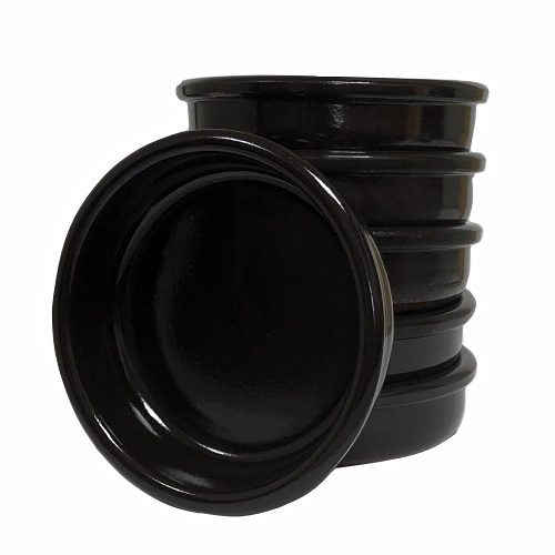 "Set of 6: 14cm Spanish Black ""Cazuela"" earthenware Tapas dish"