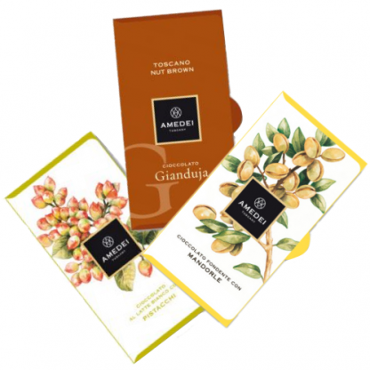 """Amedei """"let's get nut's"""" chocolate luxury selection, 3 bars - 150g"""