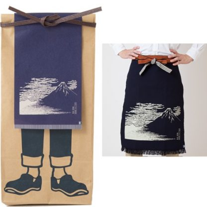 Japanese Maekake Apron - Navy Blue, Mount Fuji, Long
