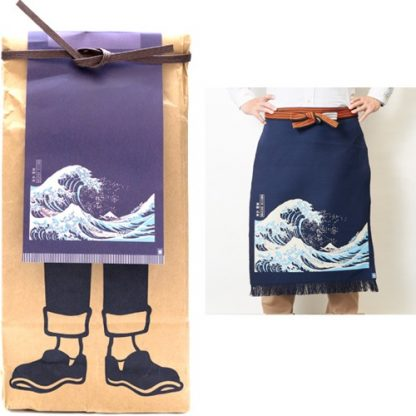 Japanese Maekake Apron - Navy Blue, Great Wave of Kanagawa, Long