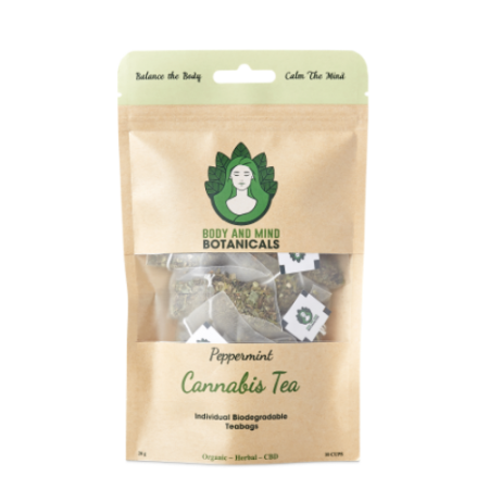 Cannabis & Peppermint Tea – 10 Bags/20g – 25-40mg CBDa Per Teabag