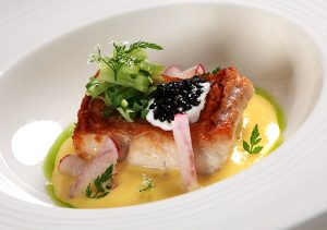 Crispy-skin Cod with Sterlet Imperial Gold Caviar and Saffron Sauce
