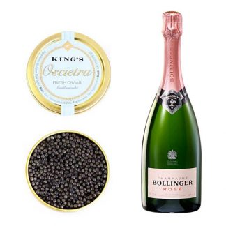 Oscietra Caviar with a bottle of Bollinger Rose