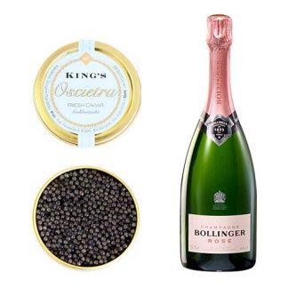 Oscietra Caviar with a bottle of Bollinger Rose