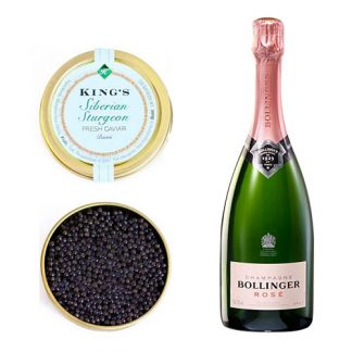 Siberian Caviar with a bottle of Bollinger Rosé