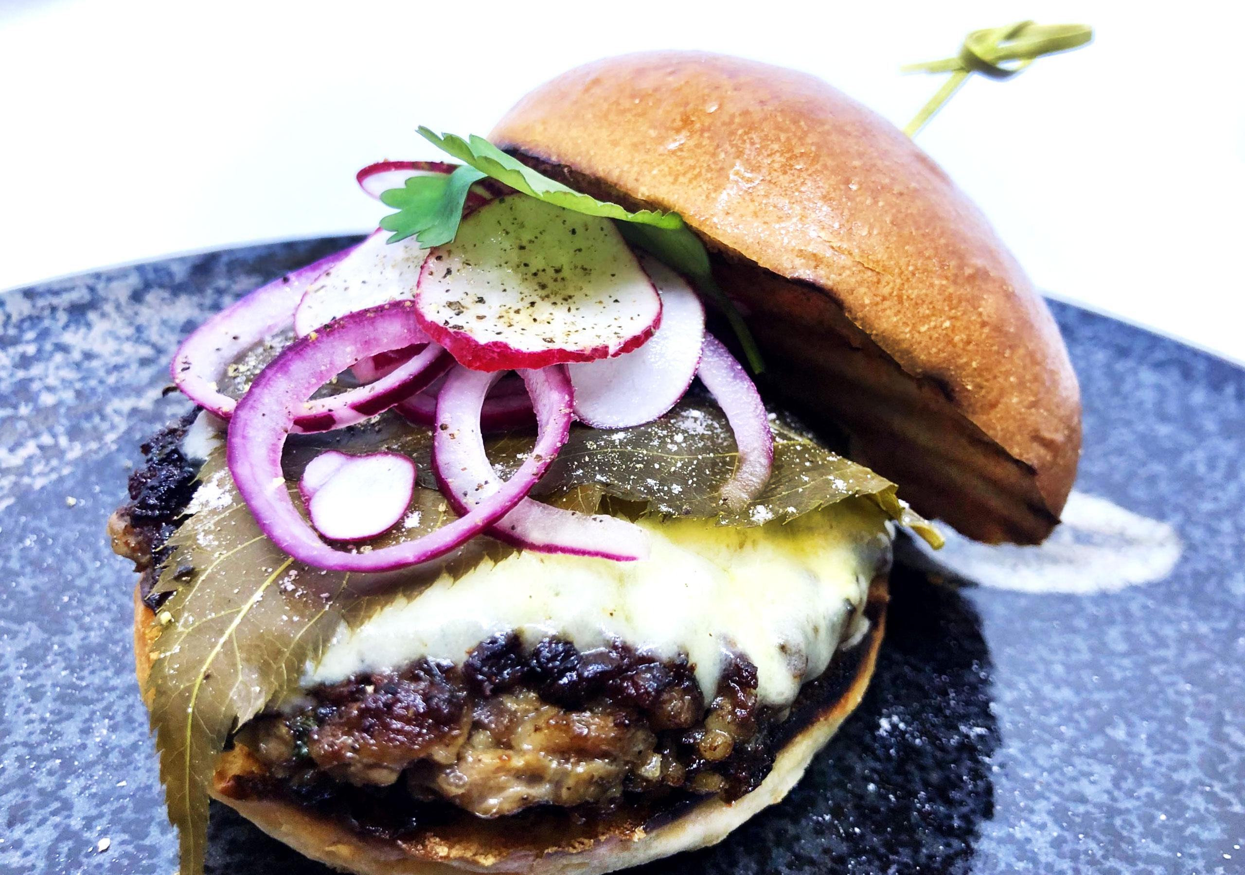Wagyu Beef Burger with Sakura Leaves