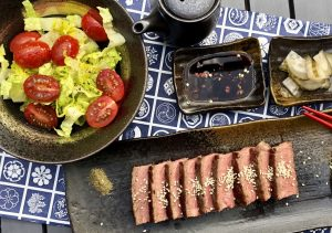 Wagyu steak, ponzu sauce with yuzu & katsou bonito