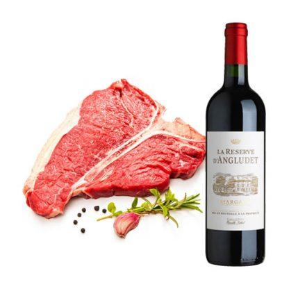 T-Bone Steak with a bottle of Chateau Angludet