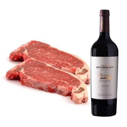 Sirloin Steaks and a bottle of Malbec Reserva
