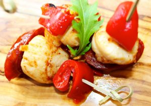 Scallops with Spicy Chorizo and Piquillo Pepper