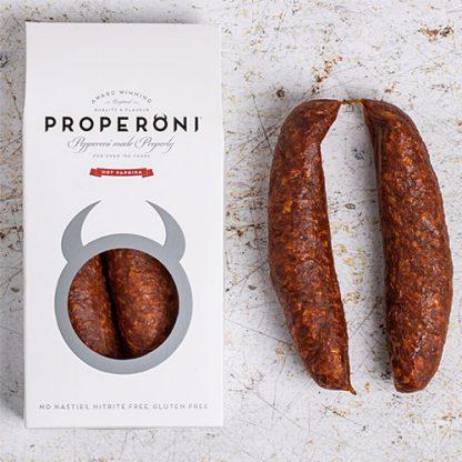 Pepperoni done properly - two Properoni Hot Paprika Sausages