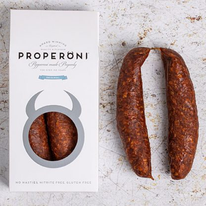 Pepperoni done properly - two Properoni Original Sausages